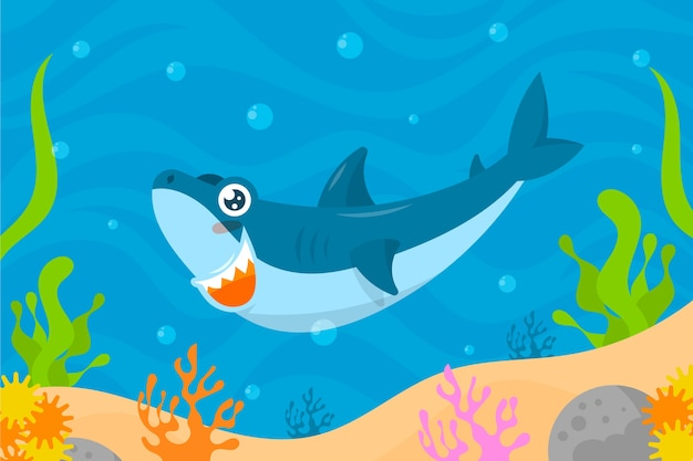 Baby shark illustrated concept
