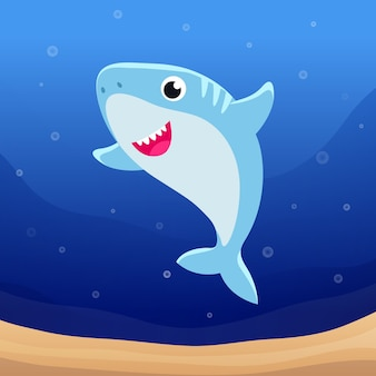 Baby shark illustration concept