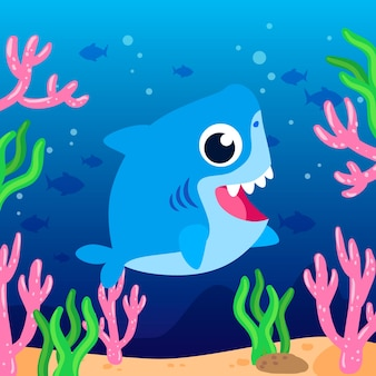 Baby акула в мультяшном стиле иллюстрации