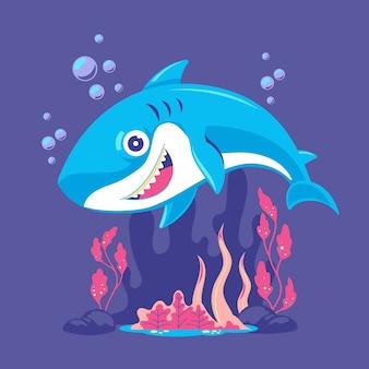 漫画スタイルのイラストの赤ちゃんサメ