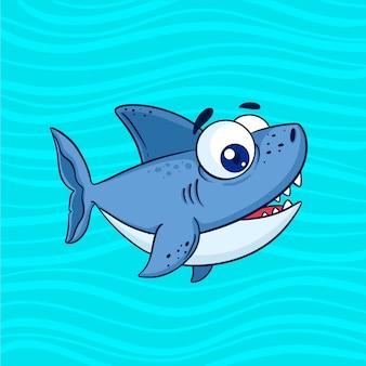 Маленькая акула в мультяшном стиле в плоском дизайне