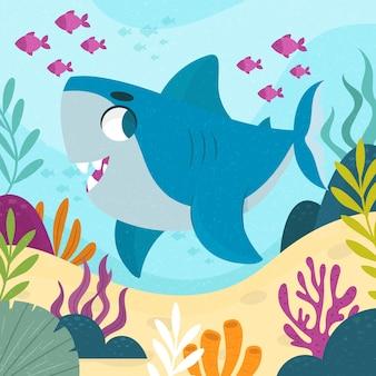 Маленькая акула в мультяшном стиле