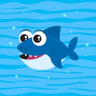 漫画のスタイルの赤ちゃんサメ