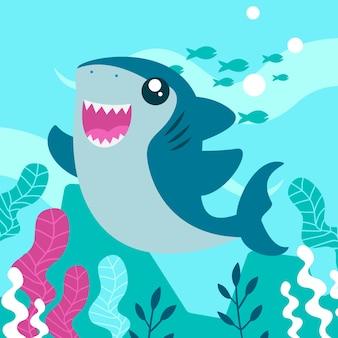 漫画のスタイルで赤ちゃんサメ