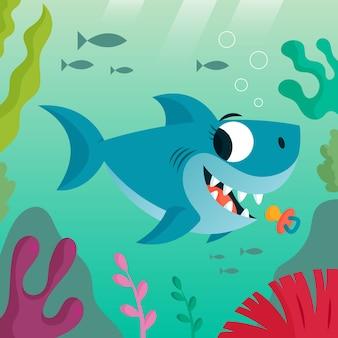 만화 스타일의 아기 상어