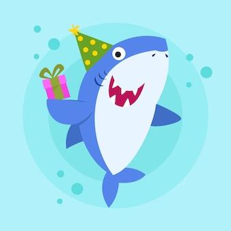 Детская акула в плоском дизайне