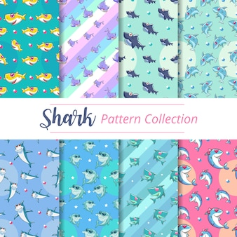 Baby shark seamless pattern set graphic design