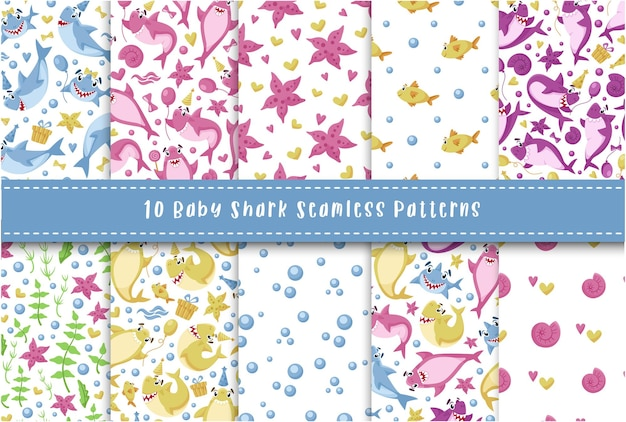 Baby shark seamless pattern