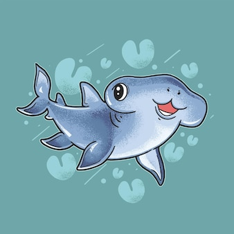 Ребенок акула улыбается иллюстрация гранж