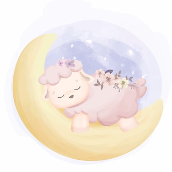 Baby sheep sleep on moon