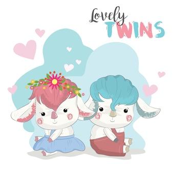 Baby sheep twins