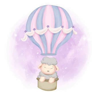 Baby sheep with flying balloon