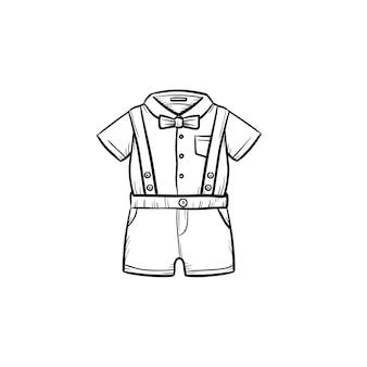 ベビーシャツとショートパンツの手描きのアウトライン落書きアイコン。シャツとショートパンツのアパレルベビー服キットは、白い背景で隔離の印刷、ウェブ、モバイル、インフォグラフィックのスケッチイラストをベクトルします。