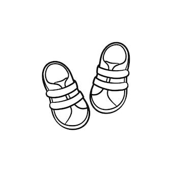 아기 신발 손으로 그린 개요 낙서 아이콘입니다. 흰색 배경에 격리된 인쇄, 웹, 모바일 및 Infographics에 대한 신생아 벡터 스케치 그림을 위한 신발 아기 부츠. 프리미엄 벡터