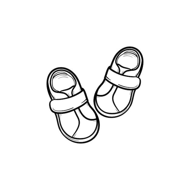 아기 신발 손으로 그린 개요 낙서 아이콘입니다. 신발류, 유아용 부츠, 어린이, 아동복 컨셉입니다. 인쇄, 웹, 모바일 및 흰색 배경에 고립 된 infographics에 대 한 벡터 스케치 그림.