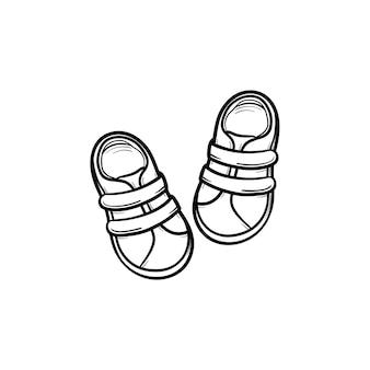 아기 신발 손으로 그린 개요 낙서 아이콘입니다. 흰색 배경에 격리된 인쇄, 웹, 모바일 및 인포그래픽을 위한 신생아 및 아기 어린이용 신발 벡터 스케치 그림입니다. 프리미엄 벡터