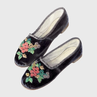 Illustrazione vettoriale vintage di scarpe da bambino, remixata dall'opera d'arte di edith towner.
