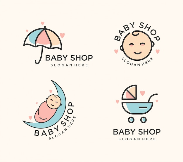 Baby shop logo set
