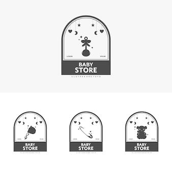 Детский магазин логотип вектор шаблон иллюстрации символ с детской одеждой