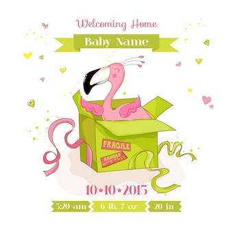 Baby shower arrival card baby flamingo girl