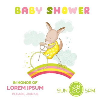 Baby shower or arrival card - baby girl kangaroo on a bike - in