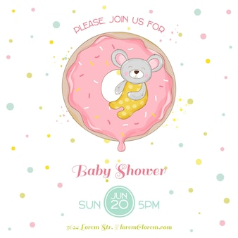 Baby shower or arrival card - baby mouse girl