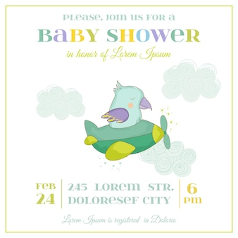 Baby shower or arrival card. cute parrot flying on a plane in