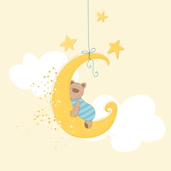 Baby shower or arrival card  sleeping baby bear