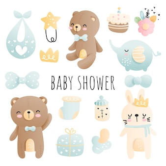 Baby shower baby boy element