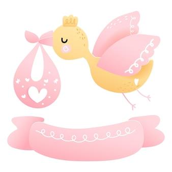 베이비 샤워 아기 소녀와 황새 요소