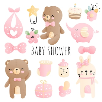 Baby shower baby girl element