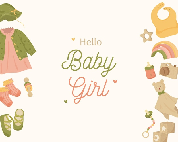 Baby shower background landscape with baby elements in earth tone colors