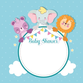 Baby shower blank greeting card with frame and animals