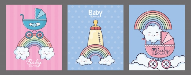 Baby shower blue pram feeding bottle rainbow clouds card set