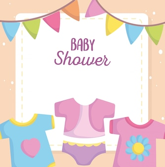 Baby shower, bodysuit dress clothes cartoon, announce newborn welcome card