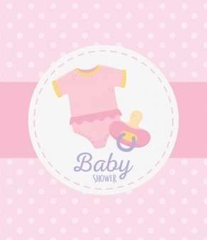 Baby shower, bodysuit and pacifier celebration dots pink background label