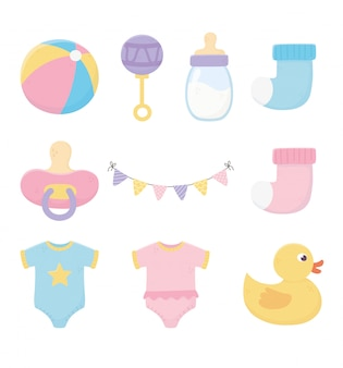 Baby shower, bodysuits pacifier bottle rattle sock duck icons illustration