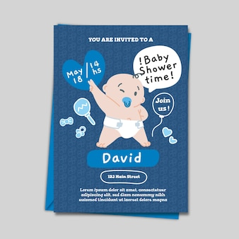 Baby shower for boy invitation template concept