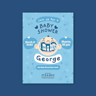 Baby shower for boy invitation template design
