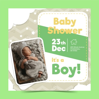 Baby shower boy invitation template with image