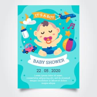 ベビーシャワーの男の子の招待状のテンプレート