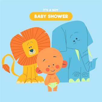 Baby shower (boy) with elephant and lion