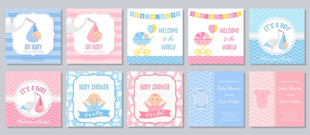 Baby shower card. baby boy girl invitation. cartoon illustration