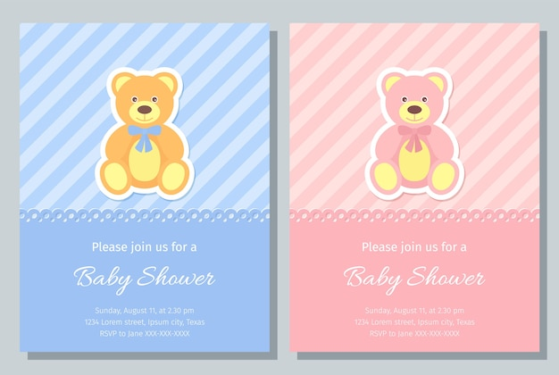 Baby shower card. . baby boy, girl invite. birth party background. cute blue, pink design. welcome template invitation banner. happy greeting holiday poster with teddy bear. flat illustration.