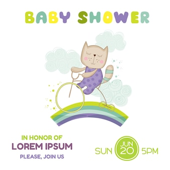 Baby shower card baby cat on a bike