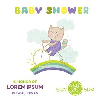 Открытка на детский душ котенок на велосипеде