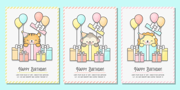 Baby shower card, birthday greeting card set with tiger, monkey and lion standing in gift boxes.