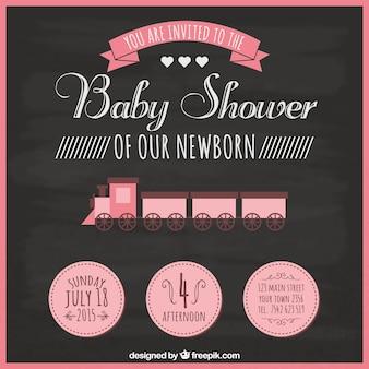 Baby shower card in blackboard style