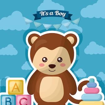 Открытка для младенца синие облака улыбающиеся обезьяны игрушки