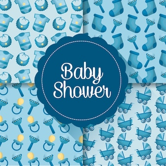 Baby shower card boy day born labels clothes pacifiers celebration